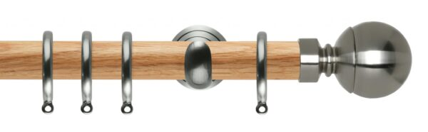 Rolls Neo Oak Curtain Pole 28mm with Ball Finials