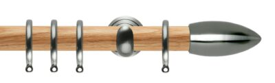 Rolls Neo Oak Curtain Pole 28mm with Bullet Finials