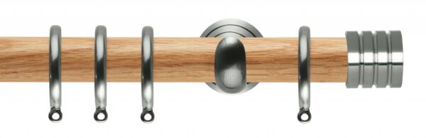 Rolls Neo Oak Curtain Pole 28mm with Stud Finials