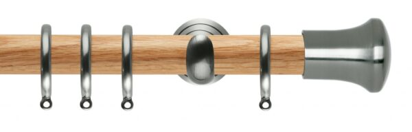 Rolls Neo Oak Curtain Pole 28mm with Trumpet Finials