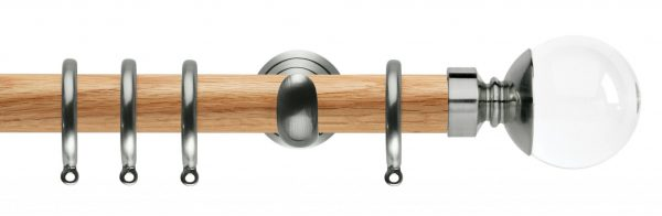 Rolls Neo Oak Curtain Pole 28mm with Clear Ball Finials