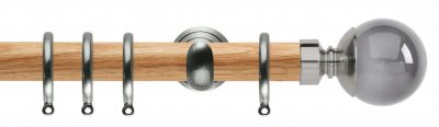 Rolls Neo Oak Curtain Pole 28mm with Smoked Grey Ball Finials