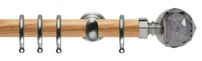 Rolls Neo Oak Curtain Pole 28mm with Smoked Grey Faceted Ball Finials