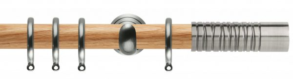 Rolls Neo Oak Curtain Pole 28mm with Wired Barrel Finials