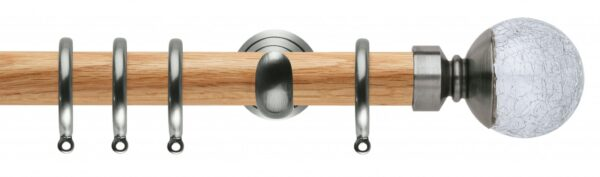 Rolls Neo Oak Curtain Pole 28mm with Crackled Glass Ball Finials