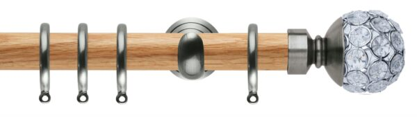 Rolls Neo Oak Curtain Pole 28mm with Jewelled Ball Finials