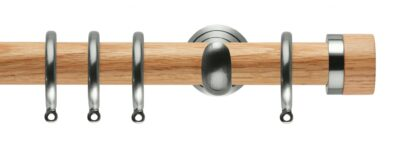 Rolls Neo Oak Curtain Pole 28mm with Oak Stud Finials
