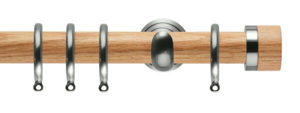 Rolls Neo Oak Curtain Pole 28mm with Oak Stud Finials