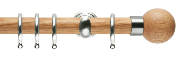 Rolls Neo Oak Curtain Pole 28mm with Oak Ball Finials