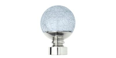 28MM NEO CRACKLED GLASS BALL FINIAL STAINLESS STEEL