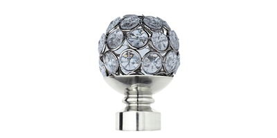 28MM NEO CLEAR JEWELLED BALL FINIAL STAINLESS STEEL
