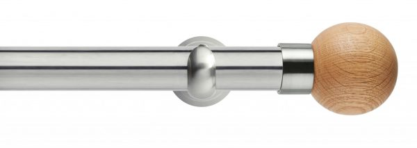 Rolls Neo Metal Curtain Pole 28mm Oak Ball
