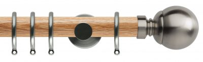 Rolls Neo Oak Curtain Pole 35mm with Ball Finials