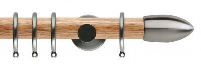 Rolls Neo Oak Curtain Pole 35mm with Bullet Finials