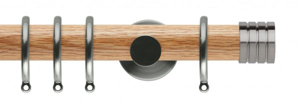 Rolls Neo Oak Curtain Pole 35mm with Stud Finials