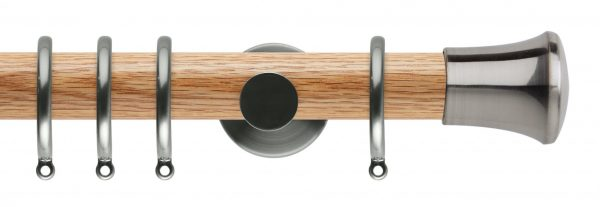 Rolls Neo Oak Curtain Pole 35mm with Trumpet Finials