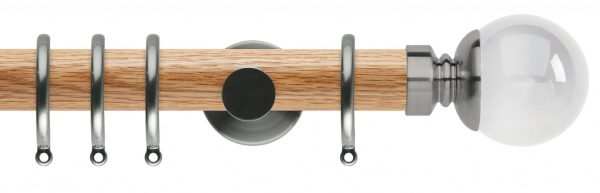 Rolls Neo Oak Curtain Pole 35mm with Clear Ball Finials