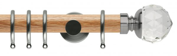 Rolls Neo Oak Curtain Pole 35mm with Clear Faceted Ball Finials