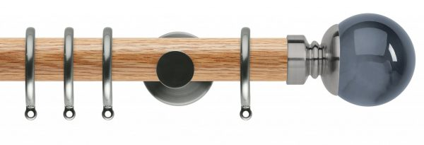 Rolls Neo Oak Curtain Pole 35mm with Smoked Grey Ball Finials