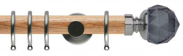 Rolls Neo Oak Curtain Pole 35mm with Smoked Grey Faceted Ball Finials