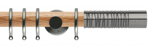 Rolls Neo Oak Curtain Pole 35mm with Wired Barrel Finials