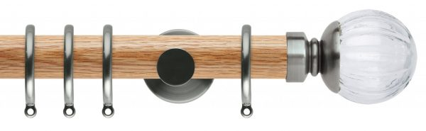 Rolls Neo Oak Curtain Pole 35mm with Clear Pumpkin Finials