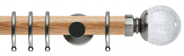Rolls Neo Oak Curtain Pole 35mm with Crackled Glass Ball Finials
