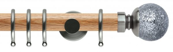 Rolls Neo Oak Curtain Pole 35mm with Mosaic Ball Finials