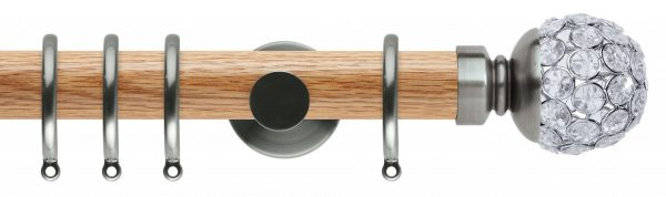Rolls Neo Oak Curtain Pole 35mm with Jewelled Ball Finials