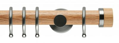 Rolls Neo Oak Curtain Pole 35mm with Oak Stud Finials