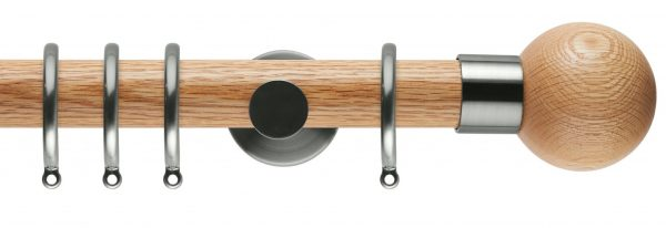 Rolls Neo Oak Curtain Pole 35mm with Oak Ball Finials