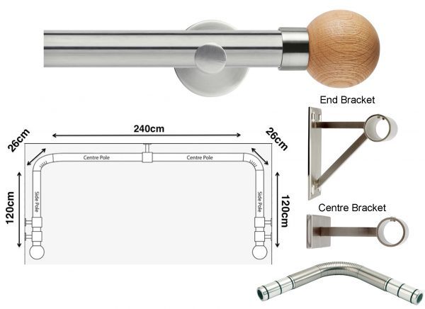 New Rolls Neo 35mm 3 sided Bay Window Curtain Pole (Eyelet Compatible) with Oak Ball Finials