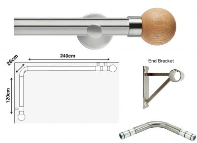New Rolls Neo 35mm L Shape Curtain Pole (Eyelet Compatible) with Oak Ball Finials