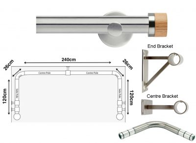 New Rolls Neo 35mm 3 sided Bay Window Curtain Pole (Eyelet Compatible) with Oak Stud Finials