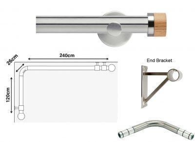 New Rolls Neo 35mm L Shape Curtain Pole (Eyelet Compatible) with Oak Stud Finials