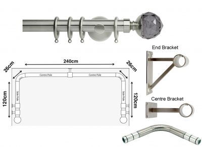 New Rolls Neo 35mm 3 sided Bay Window Curtain Pole (Eyelet Compatible) with Smoke Grey Faceted Ball Finials