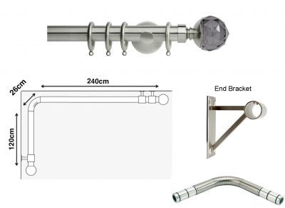 New Rolls Neo 35mm L Shape Curtain Pole (Eyelet Compatible) with Smoke Grey Faceted Ball Finials