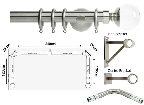 New Rolls Neo 35mm 3 sided Bay Window Curtain Pole (Eyelet Compatible) with Clear Ball Finials