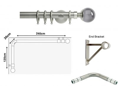 New Rolls Neo 35mm L Shape Curtain Pole (Eyelet Compatible) with Smoke Grey Ball Finials