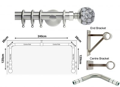 New Rolls Neo 35mm 3 sided Bay Window Curtain Pole (Eyelet Compatible) with Jewelled Ball Finials