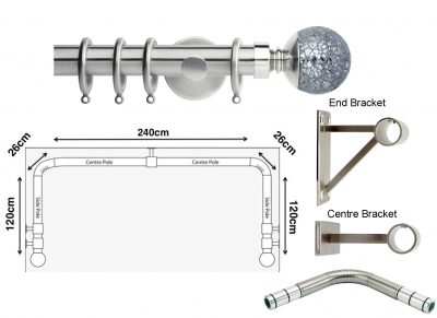 New Rolls Neo 35mm 3 sided Bay Window Curtain Pole (Eyelet Compatible) with Mosaic Ball Finials