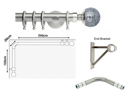 New Rolls Neo 35mm L Shape Curtain Pole (Eyelet Compatible) with Mosaic Ball Finials