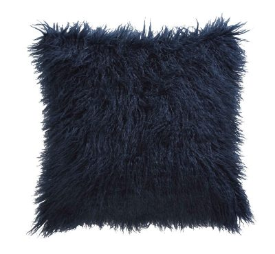 TESS DALY FAUX MONGOLIAN MIDNIGHT CUSHION