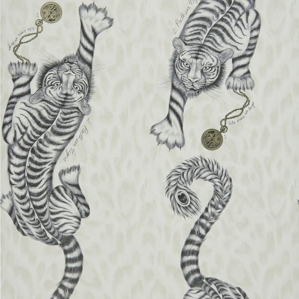 Emma J Shipley Wallpaper Tigris Monochrome Swatch