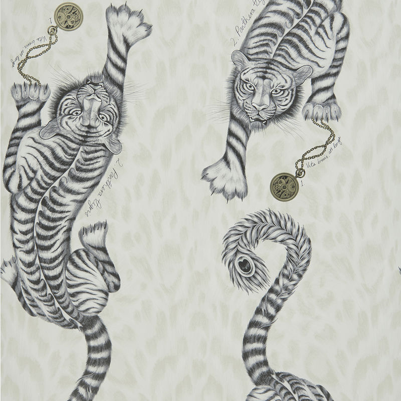 Emma J Shipley Wallpaper Tigris Monochrome Swatch