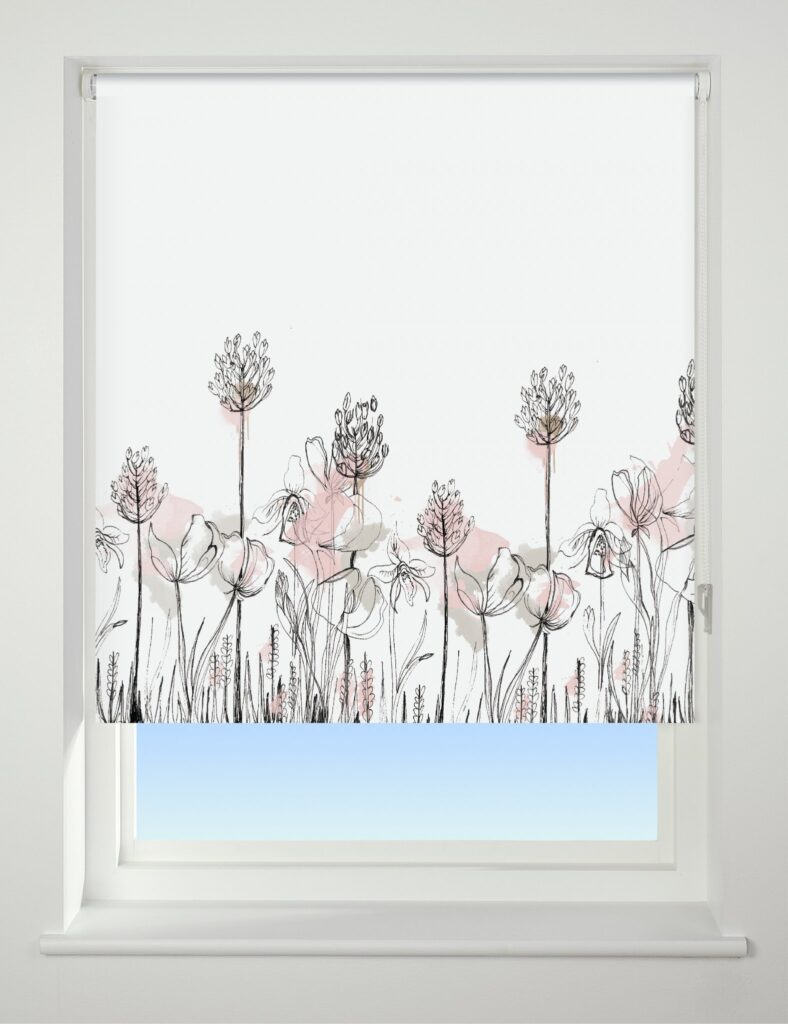 Universal Patterned Blackout Roller Blind Floral Border