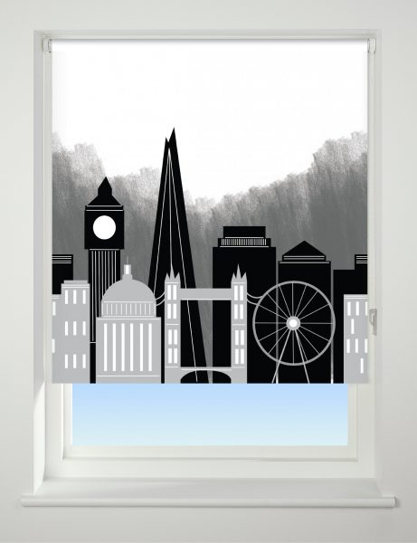 Universal Patterned Blackout Roller Blind London Skyline