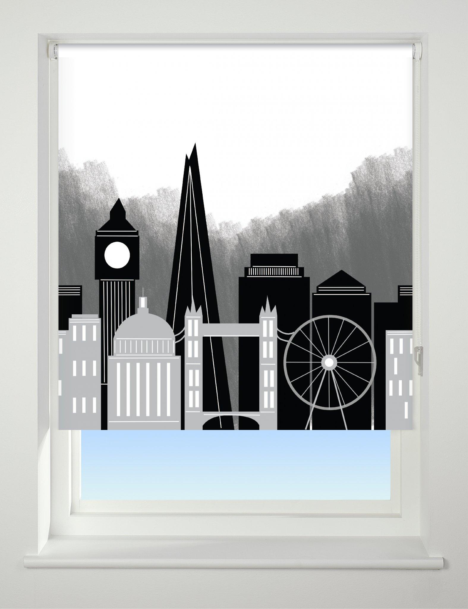 Universal Patterned Blackout Roller Blind London Skyline