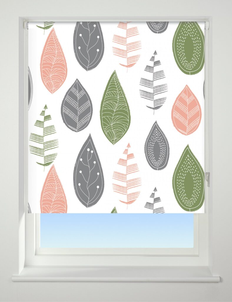 Universal Patterned Blackout Roller Blind Leaf The Home