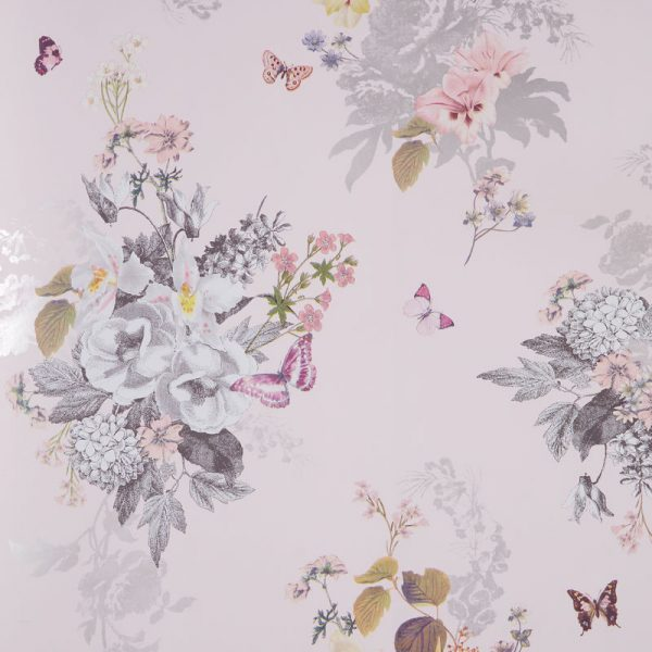 Clarke & Clarke Wallpaper Botanical Bouquet Blush Colourswatch
